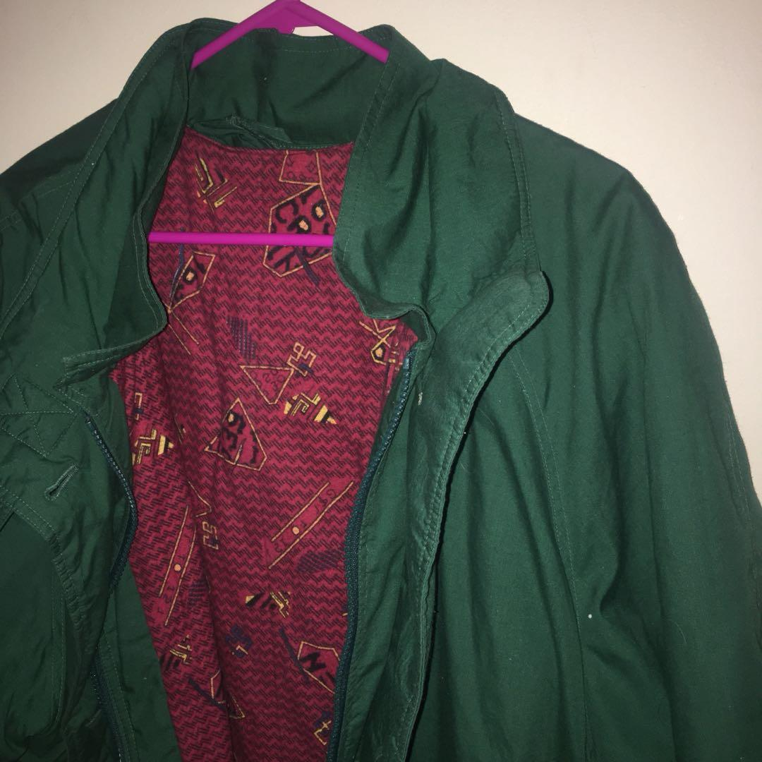 Green and red coat/jacket