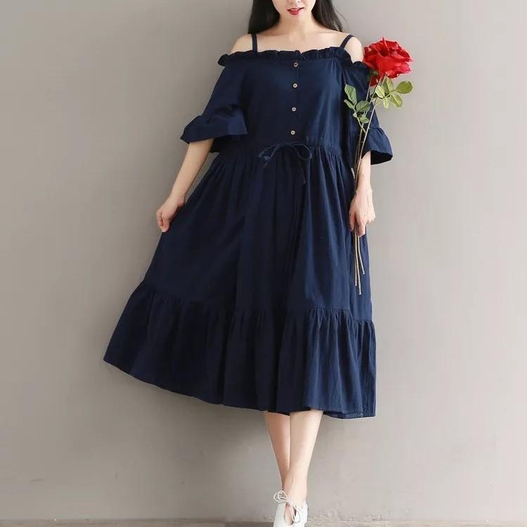 Hot Sale Women Slash Neck Butterfly Sleeve Midi Dress Solid Summer Navy Blue A-Line Party Dresses