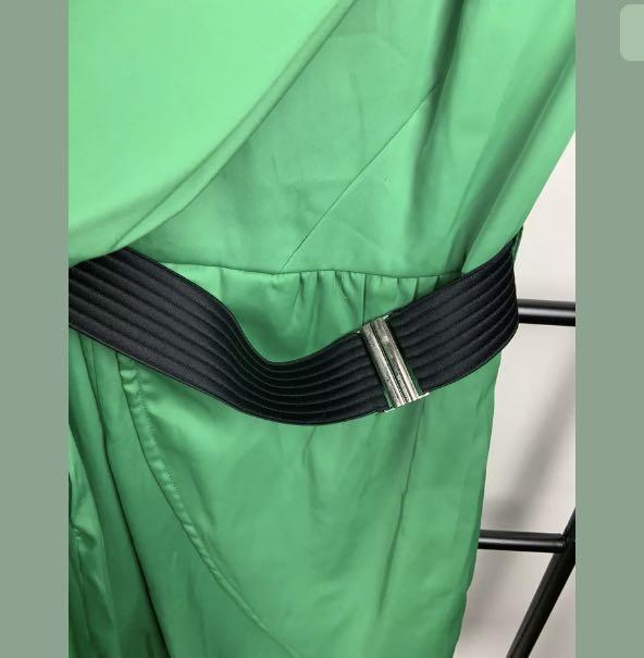 Karen Millen 8 green dress satin designer party work smart casual basic DL177