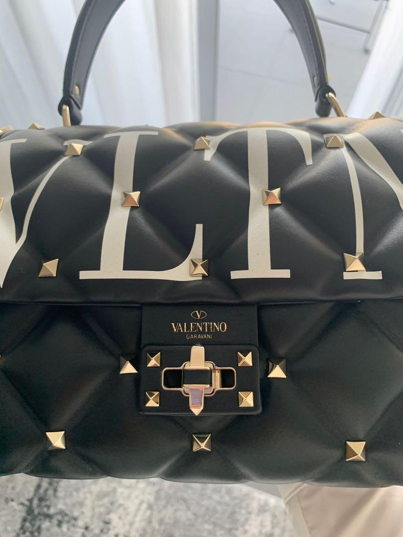 MEDIUM VLTN CANDYSTUD TOP-HANDLE BAG colour in black