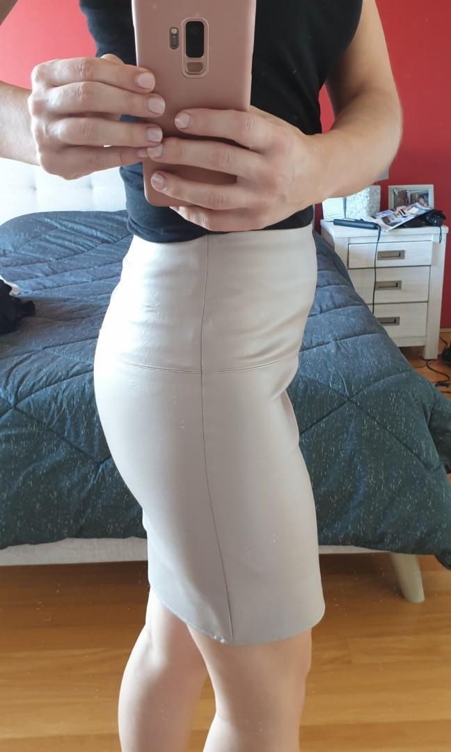 Missguided Light Pink Mini Leather Skirt, Size: AUS 8, Polyurethane, Worn twice.