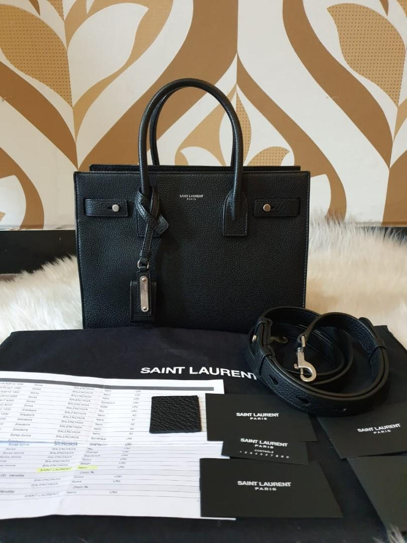 MULUSZZ YSL Sac de Jour Baby 26 cm Black Grained Leather SHW 2017 complete with clochette, keylock, yearcard, tags, receipt 2017, strap, & dustbag