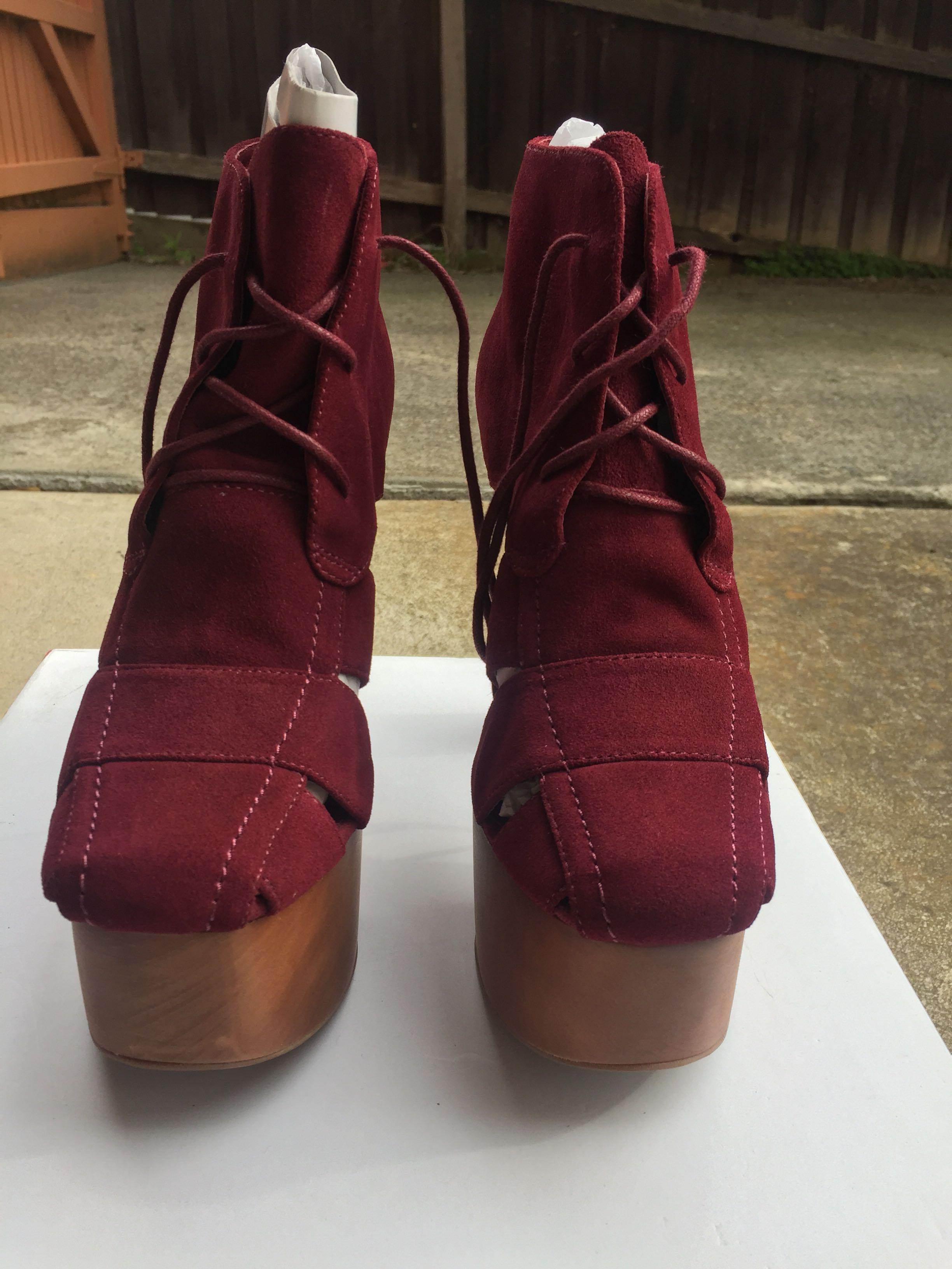 NEW RRP $200 SZ 8.5 Jeffrey Campbell Ford Suede Red / Burgundy Platform Chunky Heel Ankle Boot