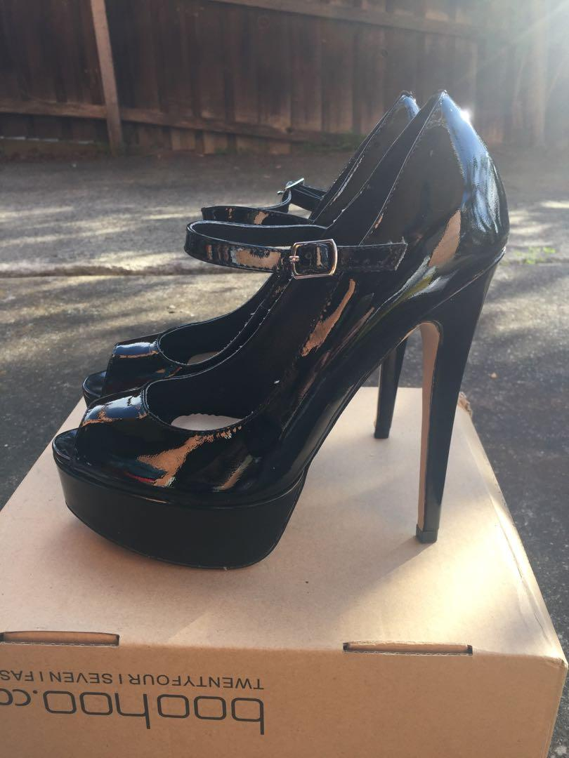 NEW Windsor Smith SZ 9 Platform Patent Black Mary Jane Stiletto Peeptoe Heel w Ankle Strap RRP $129.95