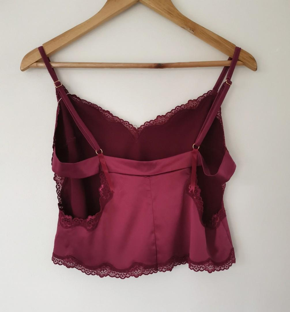 Palindrome Satin Lace Cami Top in Merlot - Size L BNWT RRP $70