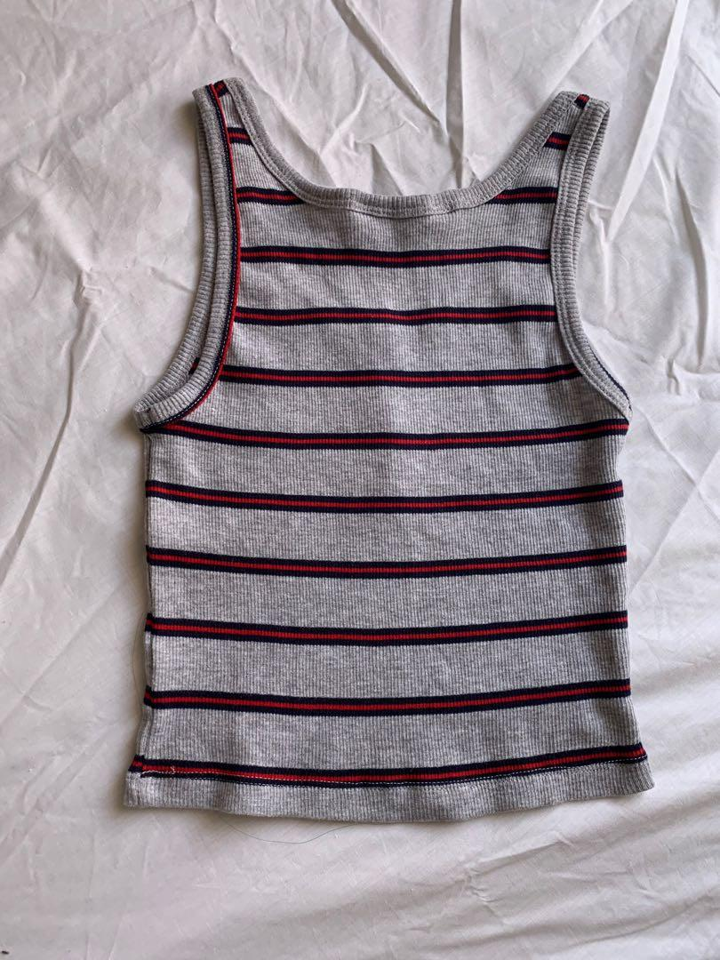Ribbed Button Grey Red & Navy Tank Top Cami Racer Back