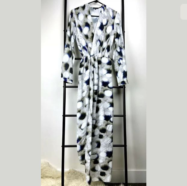 Sheike 6 white grey spotted crossover wrap midi dress party wedding cocktail