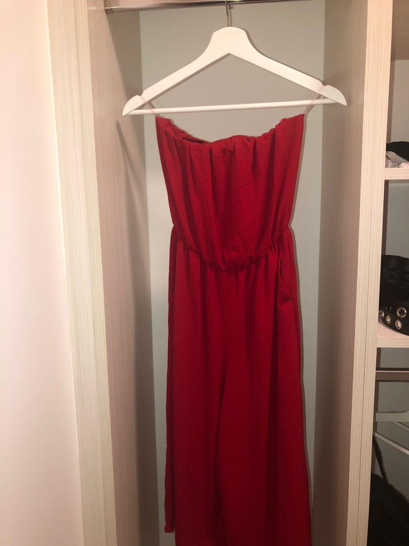 Strapless Red Culotte Romper from M Boutique (Size Small)