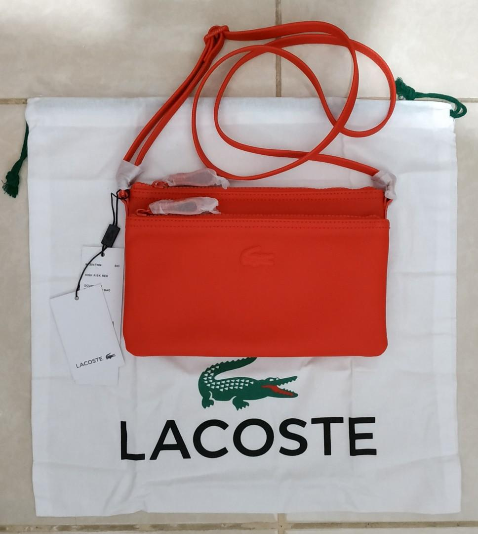 Tas Selempang Kecil Sling Bag Lacoste Autenthic Double Zip Crossover Bag High Risk Red
