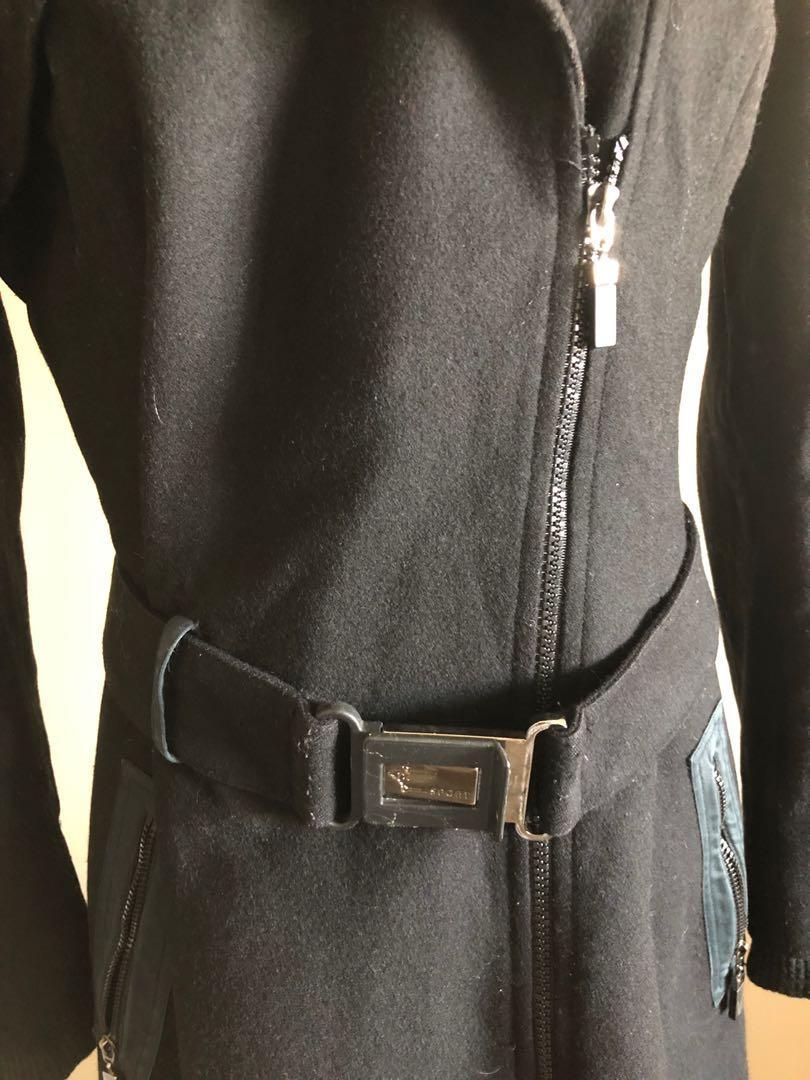 Versace black wool coat, in size Aus 8