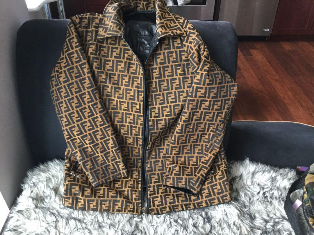 Vintage Fendi Zucca print reversible mens top coat