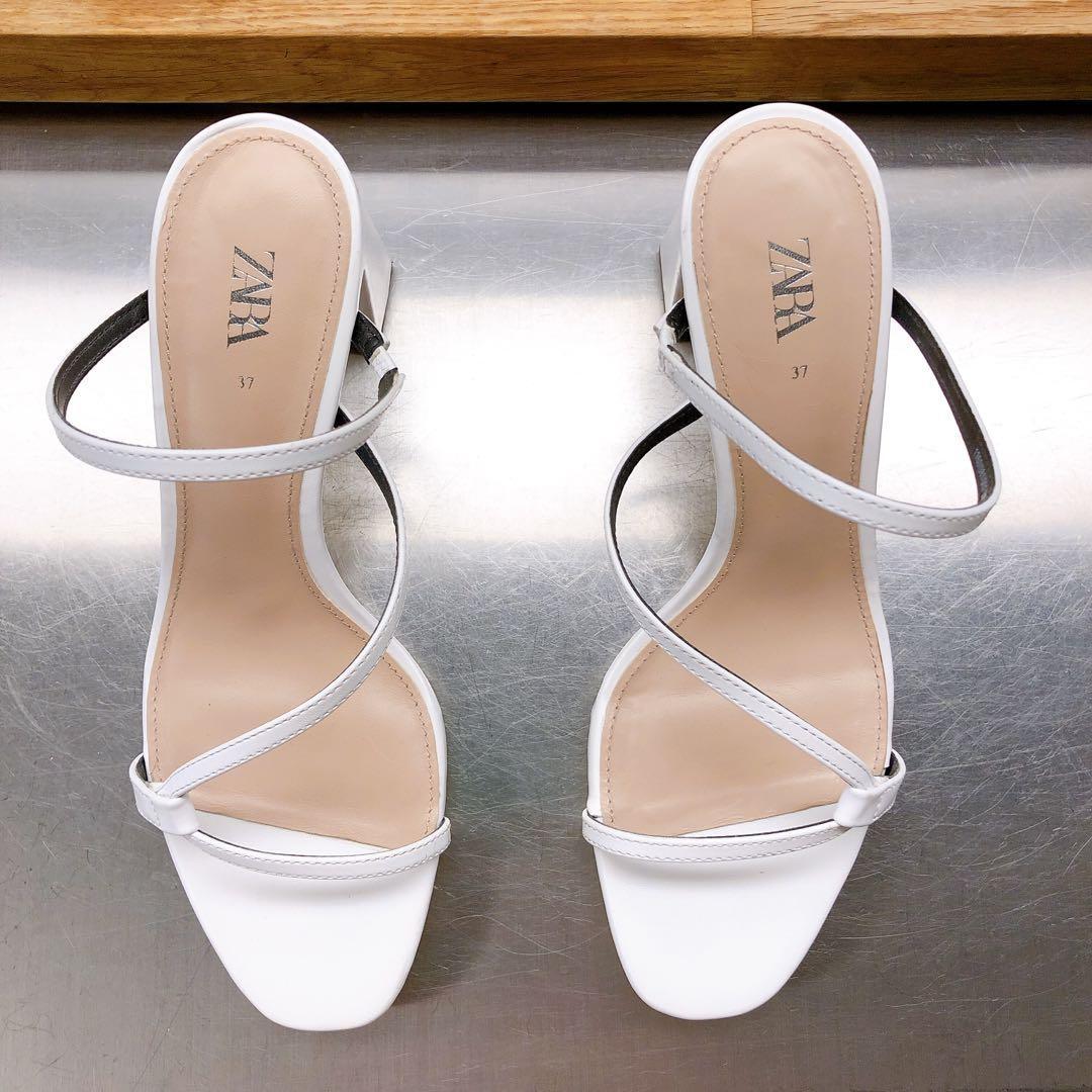 Zara White Heels, Women's Fashion