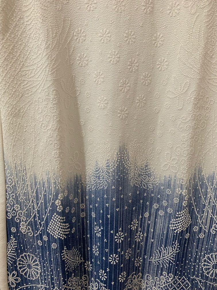 Zara藍白雪花浮雕短袖洋裝M號