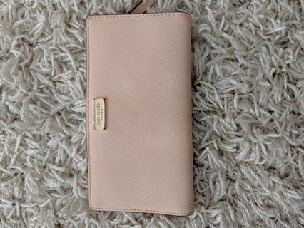Kate Spade long bifold wallet in peach / pink