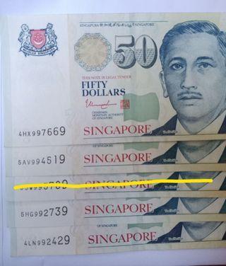 9H9T, portrait $50 note & LHL $10 paper note.