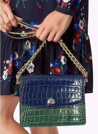 Tory Burch 鱷魚紋風琴包 鏈條包 肩背包 側背包 #for her valentine gift
