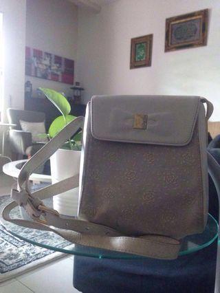 Bonia hand bag (leather mix fabric)