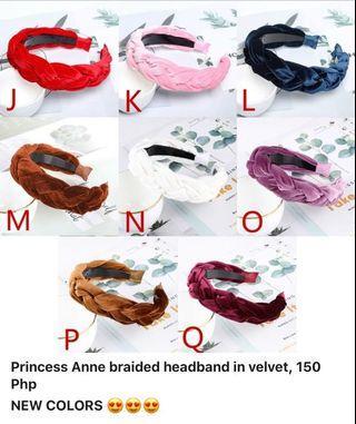 Princess Anne braided headband in velvet, 150 Php NEW COLORS 😍😍😍