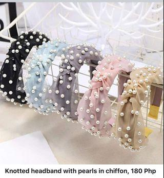 Knotted headband with pearls in chiffon, 180 Php