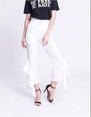 KREE Blair Frill Pants in White