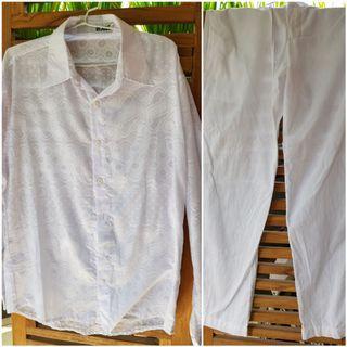 #ShopbackCarousell 1 Set Kemeja & Celana Putih
