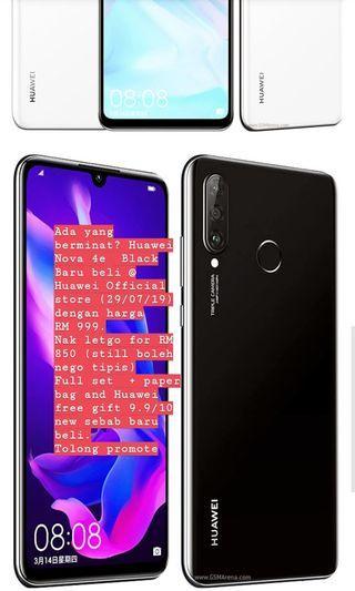 Huawei Nova 4e 128gb NEW (Bought 29/7/19) nego