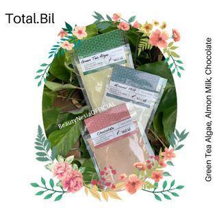 Masker Wajah Organik Total Bil Bubuk Sachet Chocolate Coklat Almond Milk Susu Green Tea