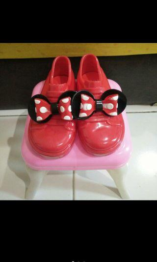 Sepatu jelly minnie mouse red