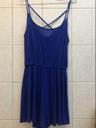 H&M藍色交叉洋裝