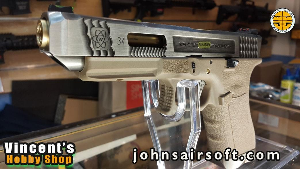 Airsoft WE Glock 34 TTSG tan body silver slide installment payment