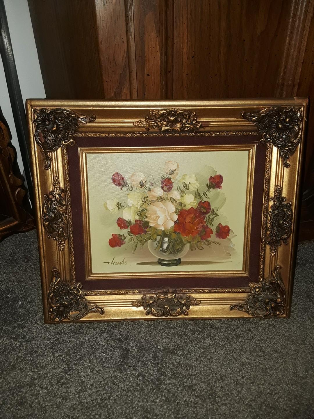 Antique Certified Oil Painting 18kt Gold Plated Frame