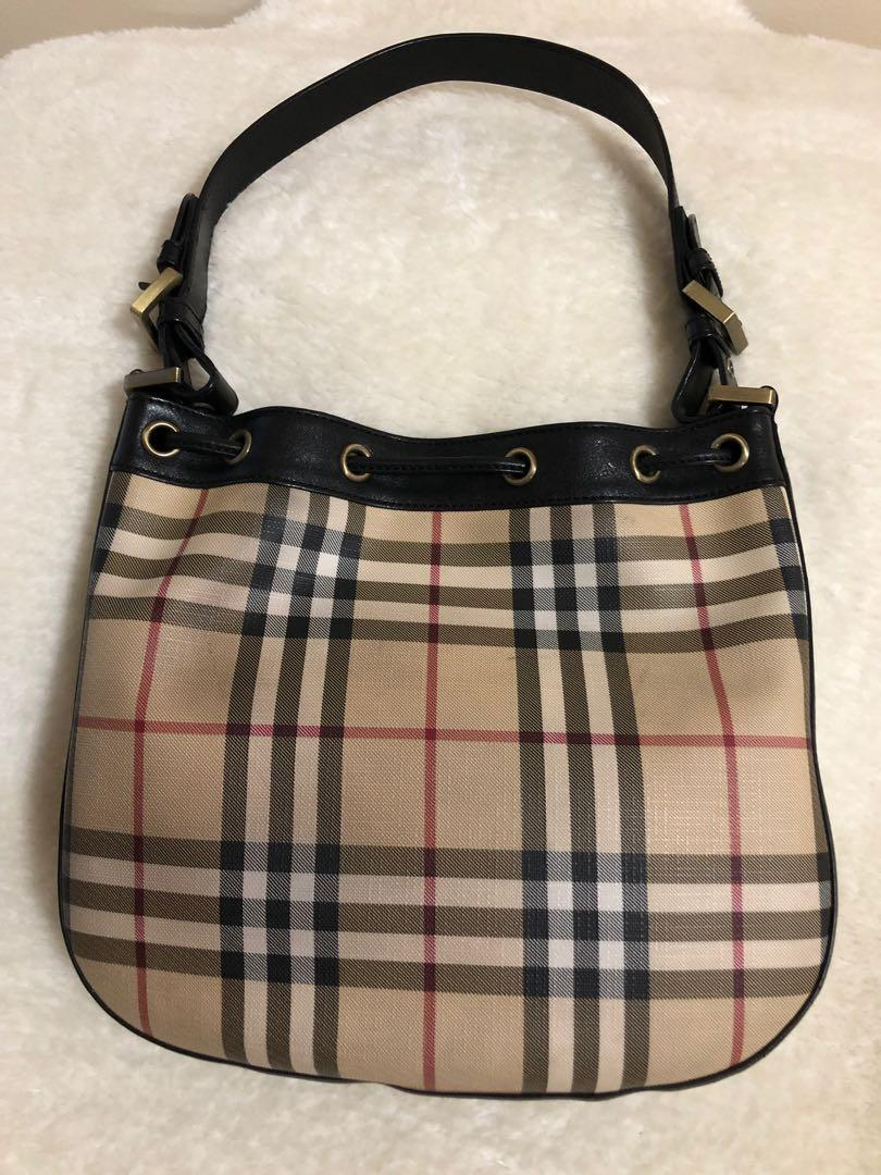 Authentic Burberry drawstring coated canvas shoulder bag