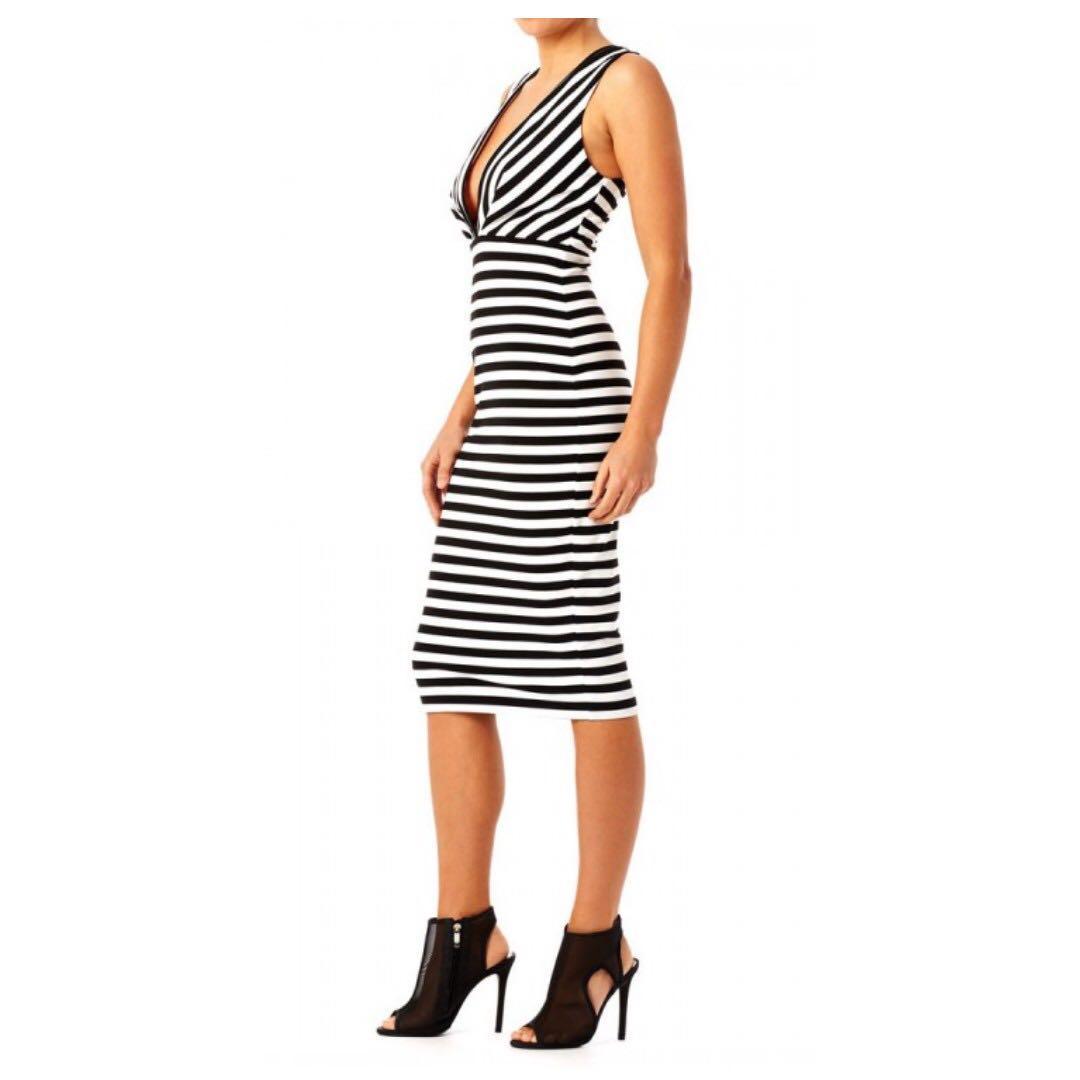 Bec and bridge plunging neck line stripe bodycon dress