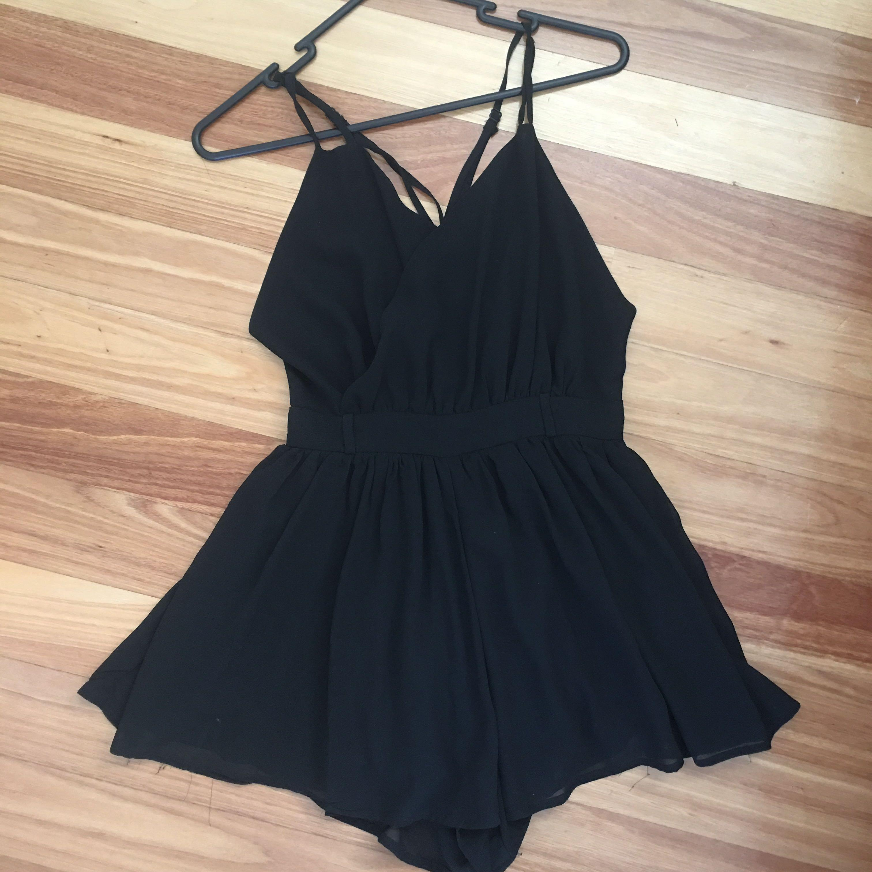 Black Backless Flowy Playsuit with Adjustable Straps