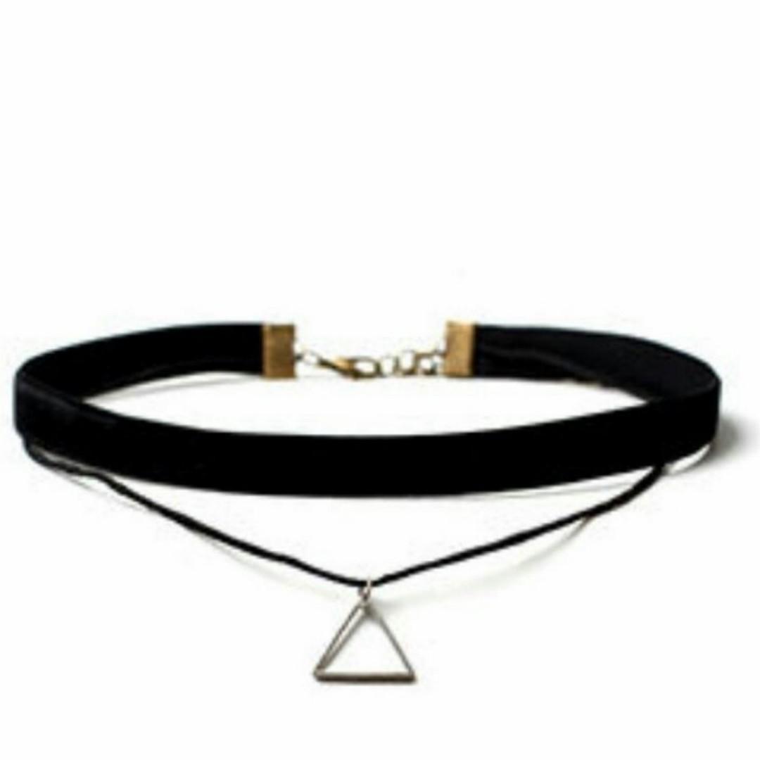 🆕️Black Velvet 2-Layer Ribbon with Triangle Choker