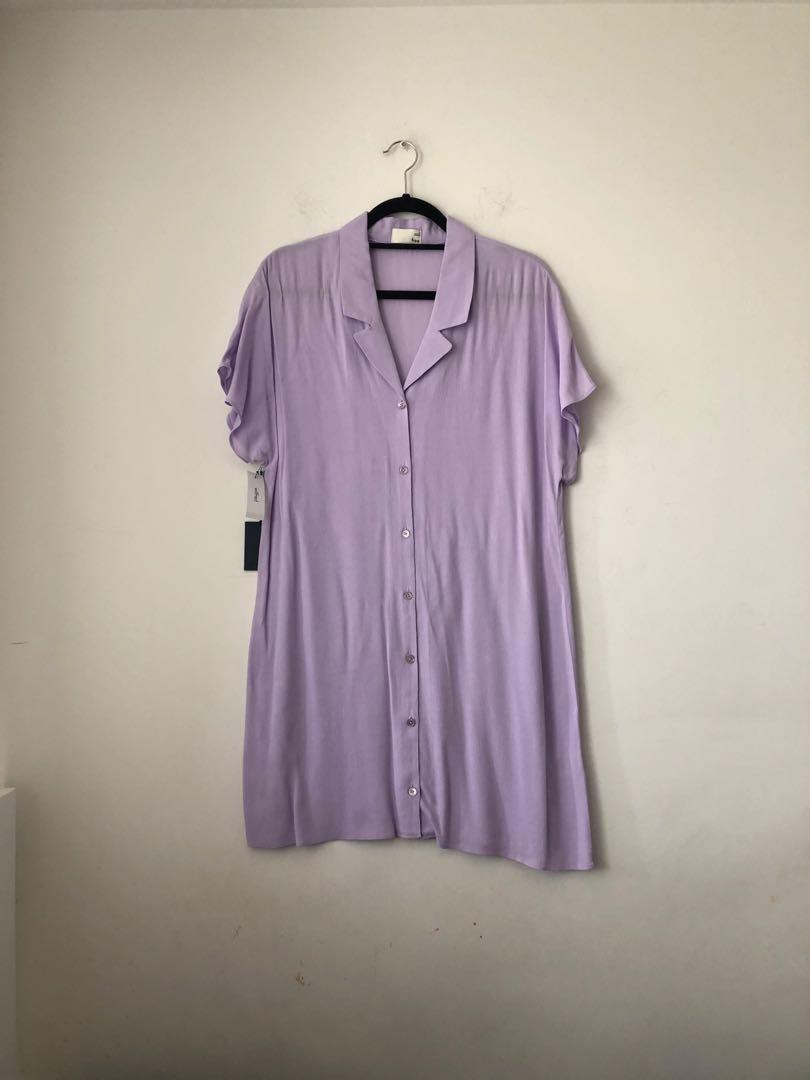 BNWT aritzia wilfred free lilac light purple button up dress