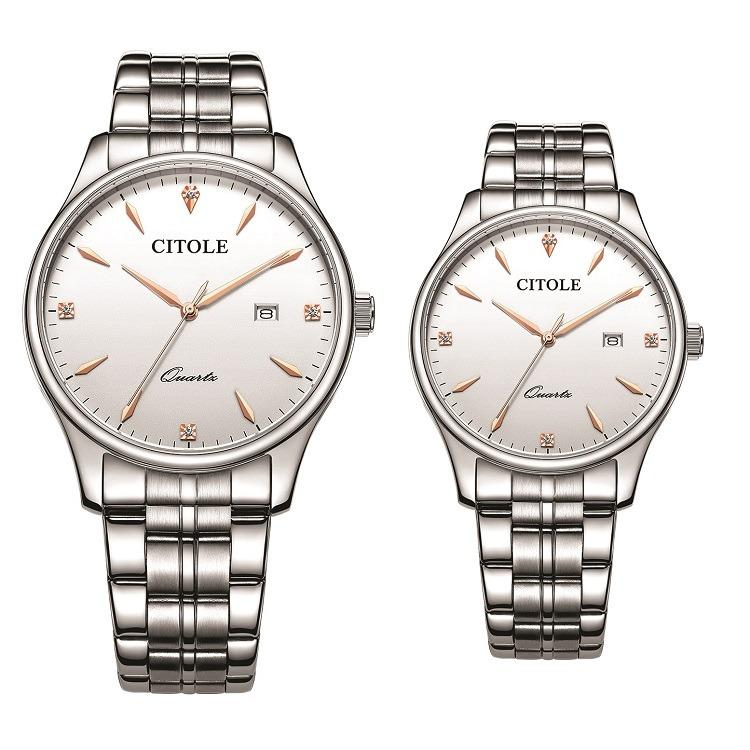 Brand New Citole (France Brand) CT5185GL Eternal Love Series Stainless Steel Quartz Couple Watch