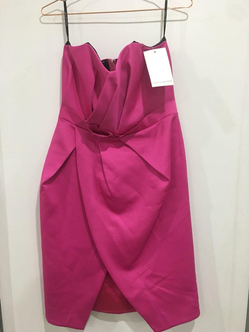 Camilla & Marc strapless pleated sweetheart cocktail dress $75