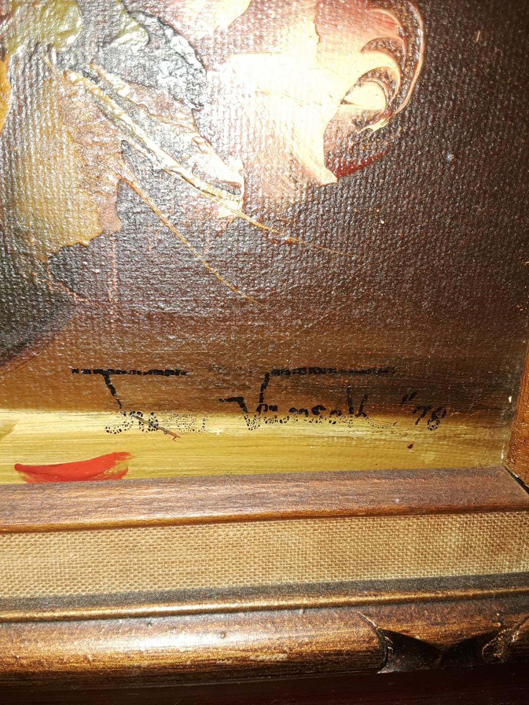 Antique Certified Oil Painting 18ktGold Plated Frame 1978