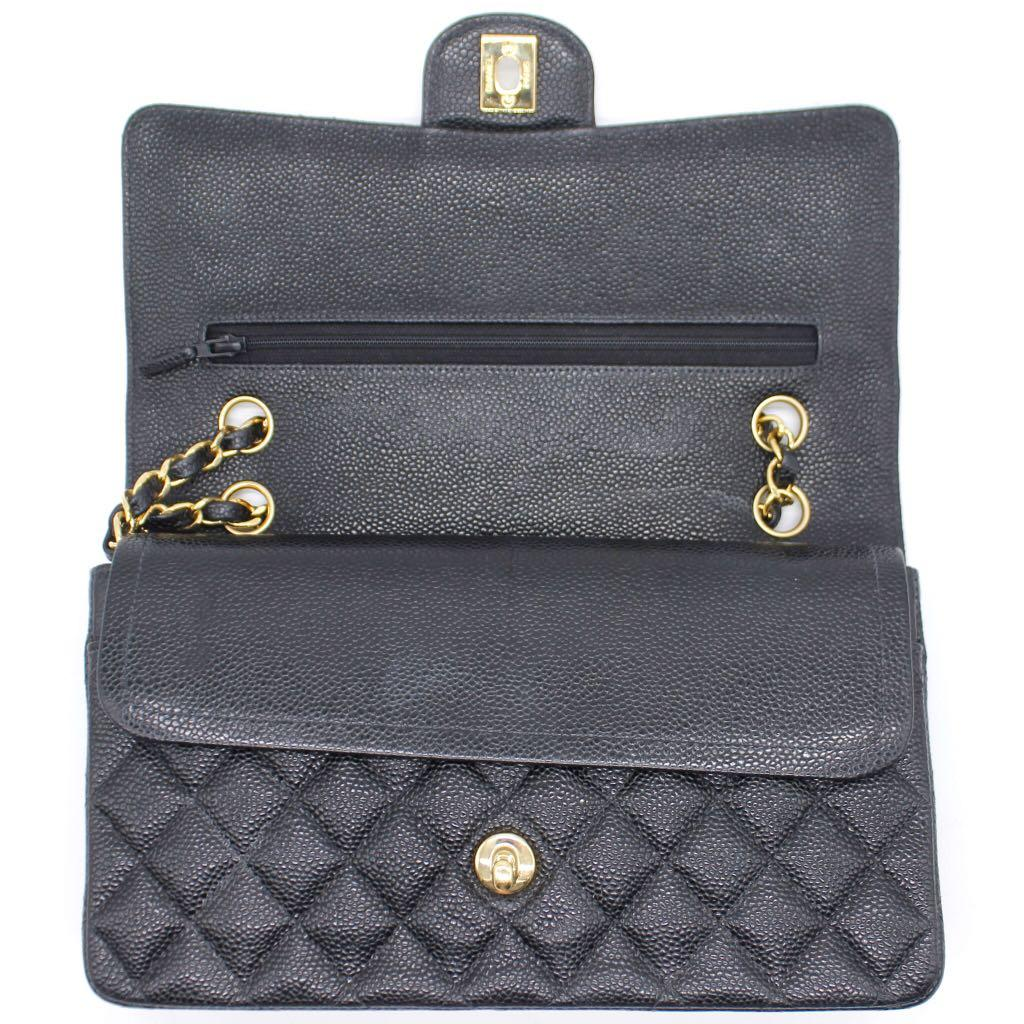 CHANEL Vintage Quilted Caviar Leather Classic Double Flap Bag