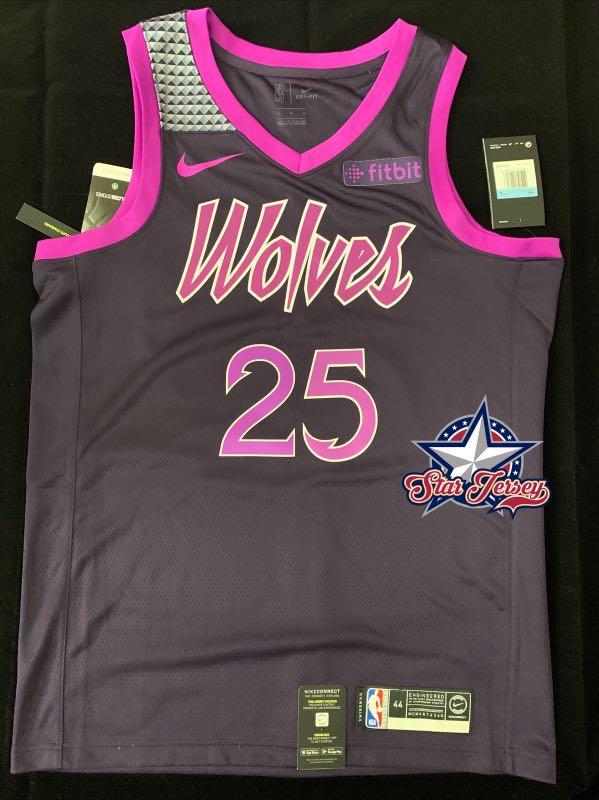 pretty nice ddfa9 c3753 Derrick Rose Minnesota Timberwolves City Edition Swingman Jersey with  Sponsor Patch (L/XL)