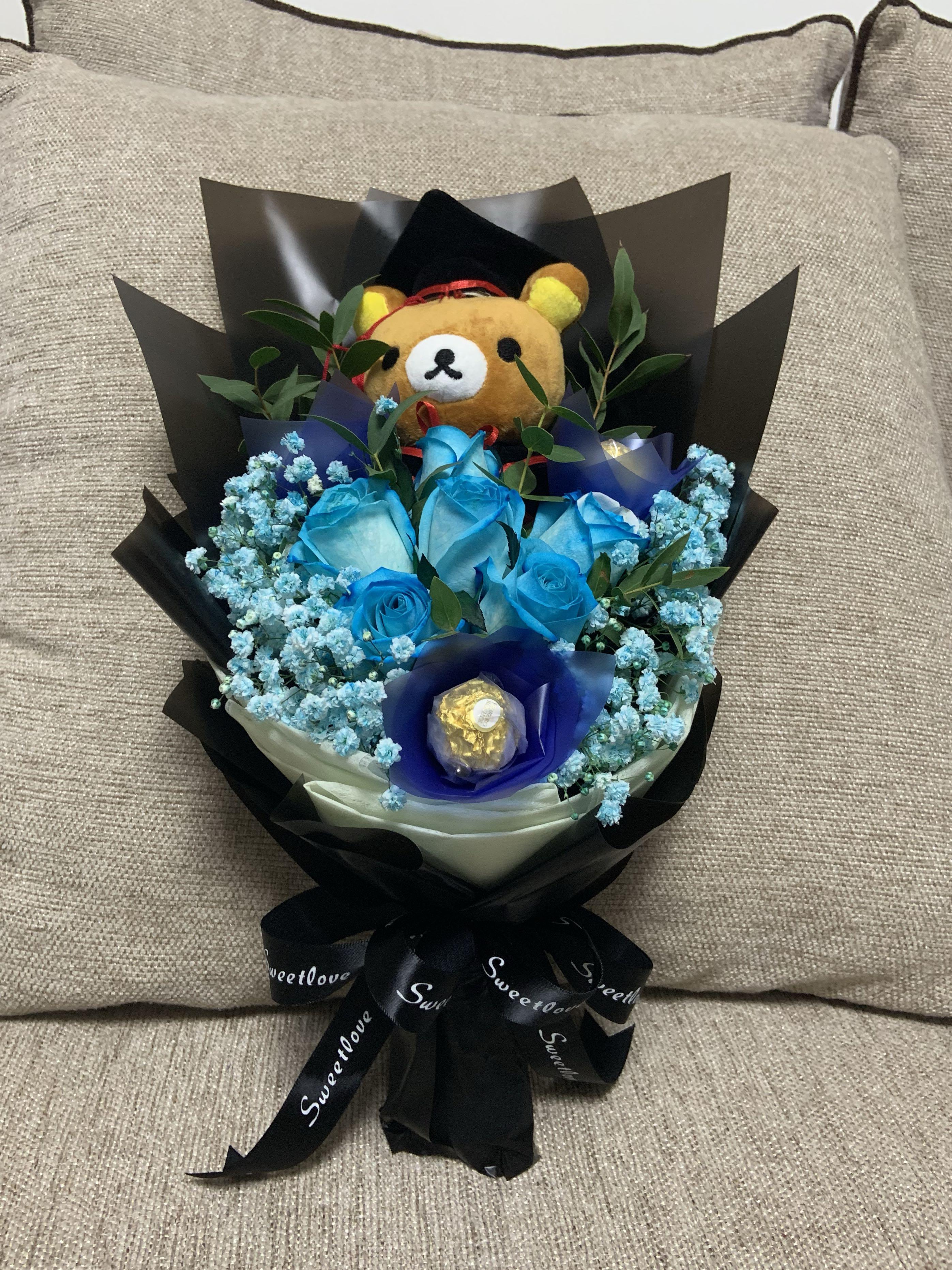 Graduation Blue Rose Bouquet Gardening Flowers Bouquets On Carousell
