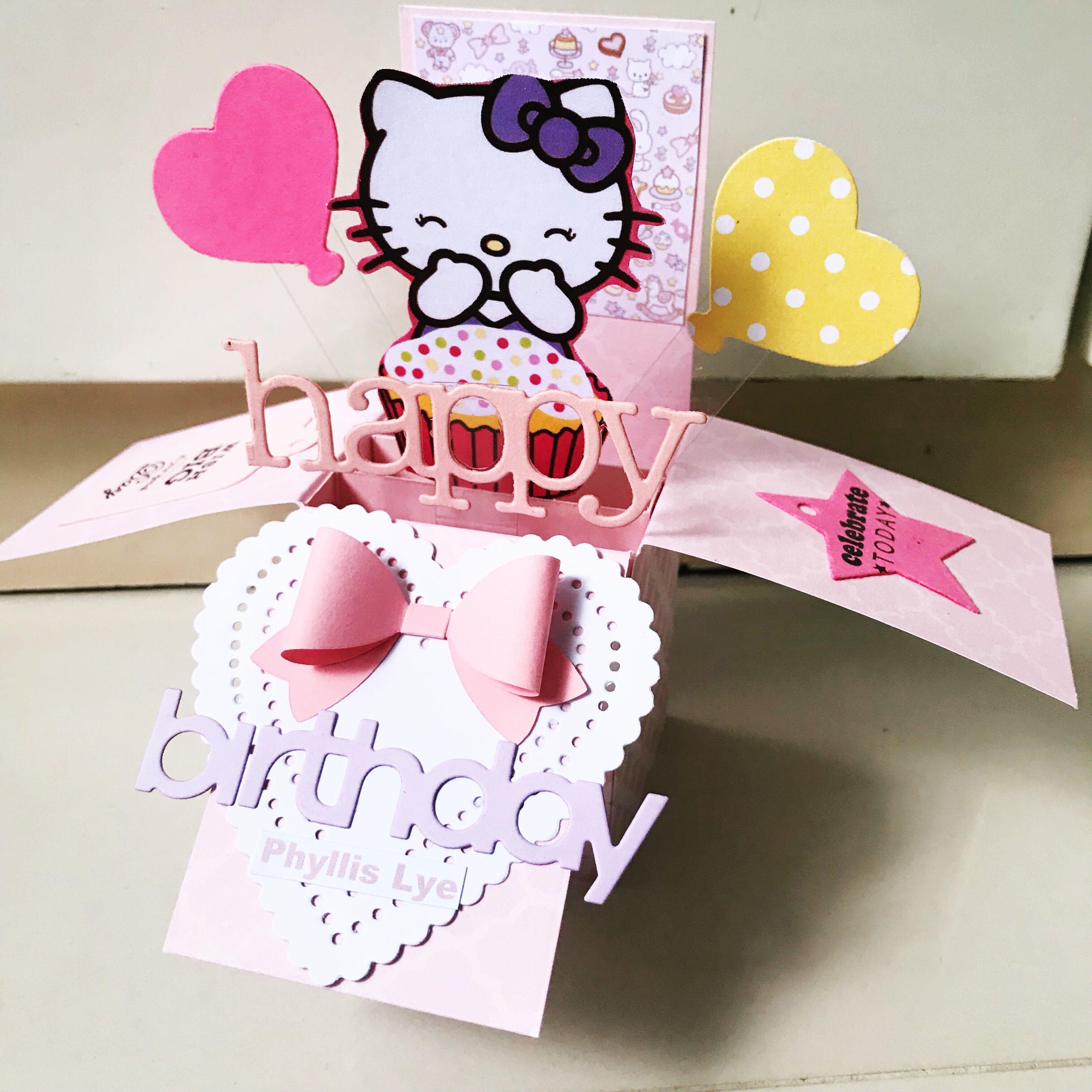 Incredible Happy Birthday Hello Kitty Handmade Pop Up Card Design Craft Funny Birthday Cards Online Alyptdamsfinfo