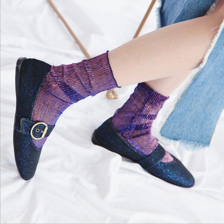 Glitter Glittery Iridescent Purple Rainbow Sparkle Sparkly Sock Socks