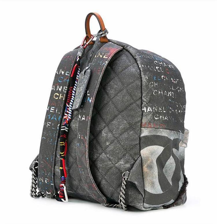 Limited Edition Chanel Graffiti Printed Canvas Medium Backpack Black #19 retail price $7900 now FOR SALE
