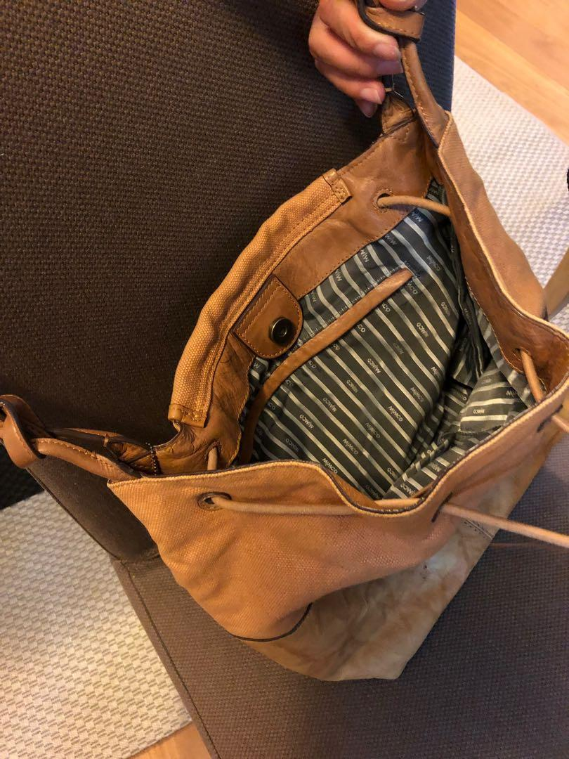 Mimco casual leather and canvas bag, lt tan colour. Very good condition, barely used.