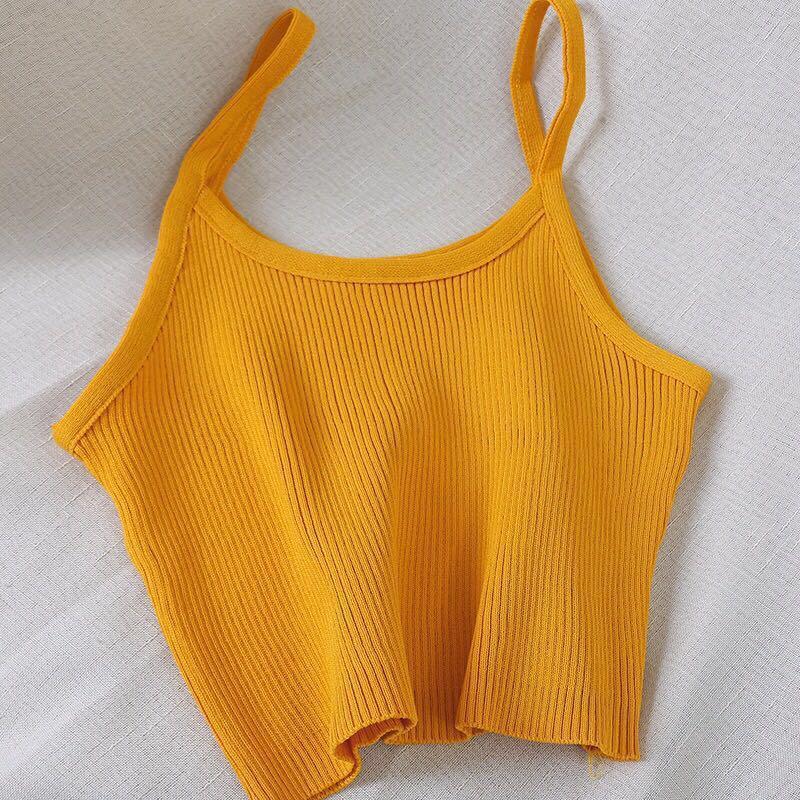 mustard yellow knitted crop tank top