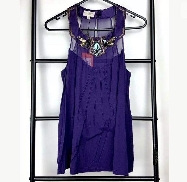 NWT Karen Millen 12 purple T-shirt tank top blouse beads jewelled designer