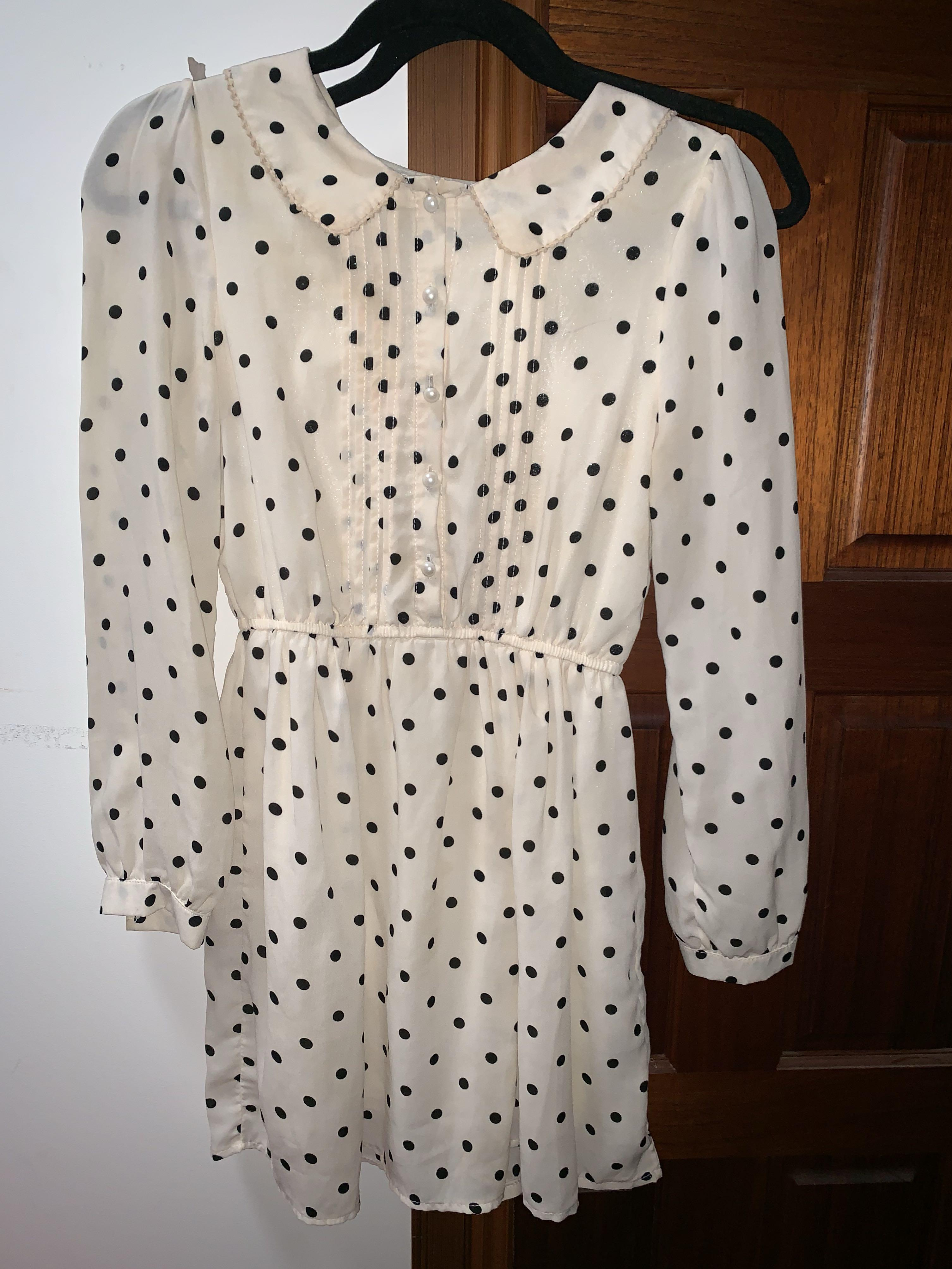 Polkadot white black vintage dress - button up - long sleeve - cute collar