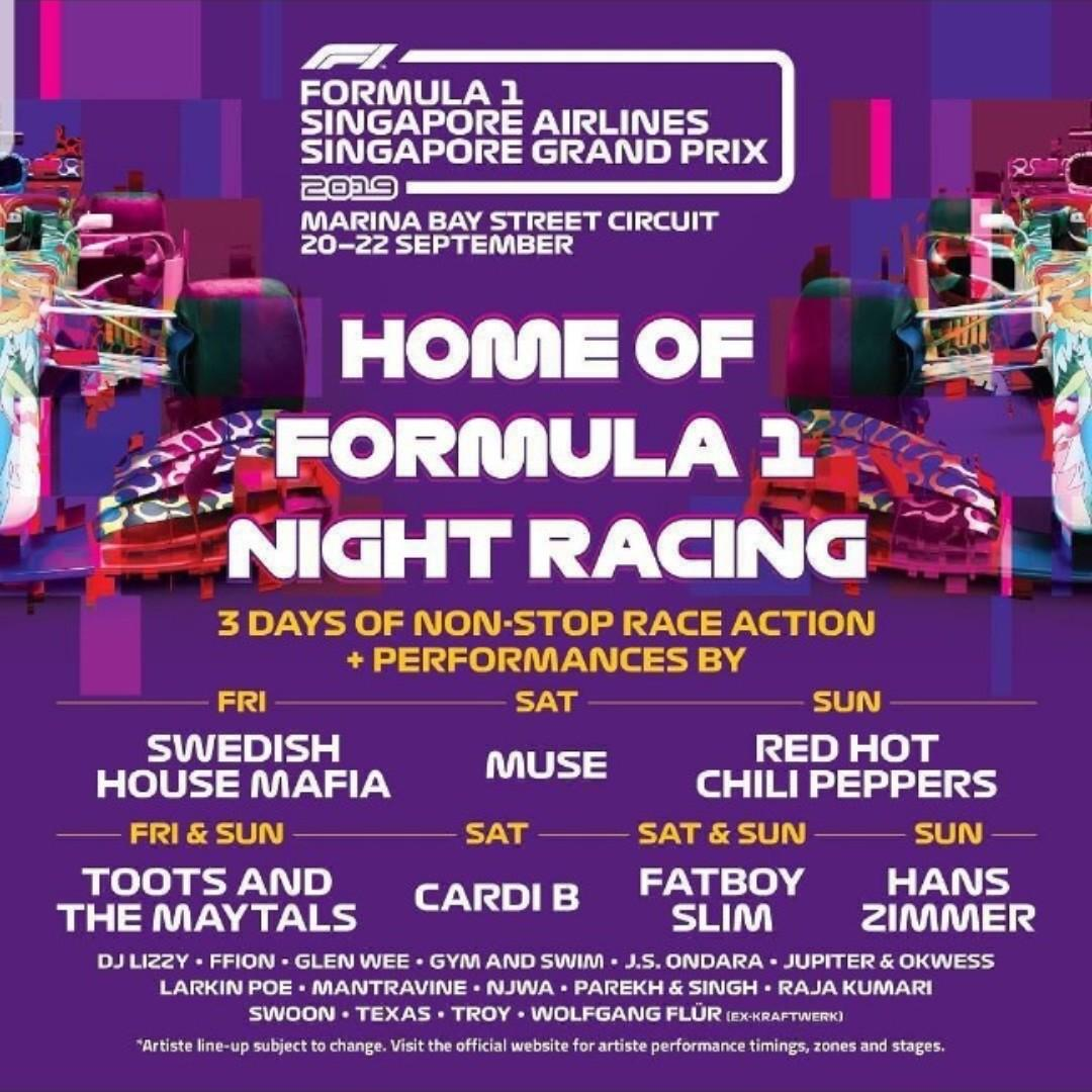Singapore F1 GP 2019 - Connaught Grandstand Friday tickets (Prime front row seats)